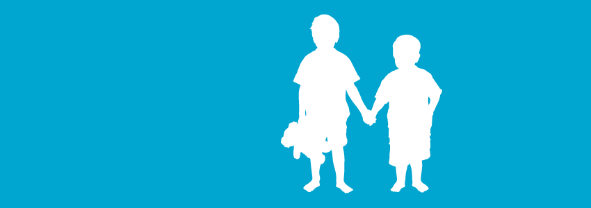 Silhouette of children banner about reducing the effects on children during divorce