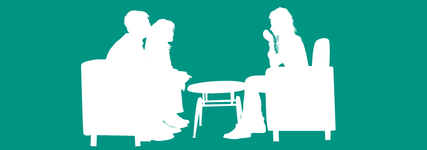 Silhouette banner of divorce advisor with couple getting advice to help with an amicable divorce